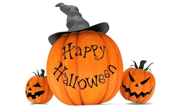 Beängstigende kürbislaterne-halloween-kürbise, die schwarzen hexenhut tragen