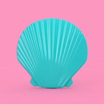 Beauty blue scallop sea oder ocean shell seashell mock up duotone auf rosa hintergrund. 3d-rendering