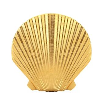 Beauty golden scallop sea oder ocean shell seashell mock up auf weißem hintergrund. 3d-rendering