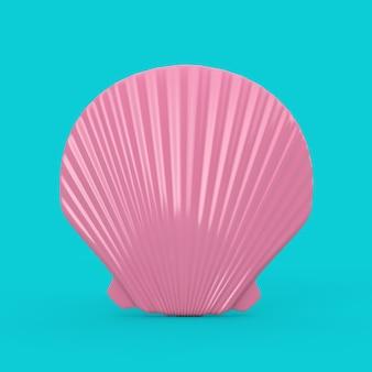 Beauty pink scallop sea oder ocean shell seashell mock up duotone auf blauem hintergrund. 3d-rendering