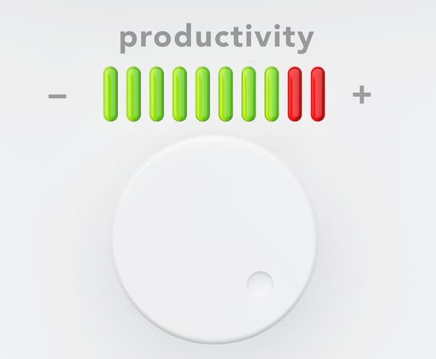 Bedienknopf mit produktivitätsfortschrittsskala extreme nahaufnahme