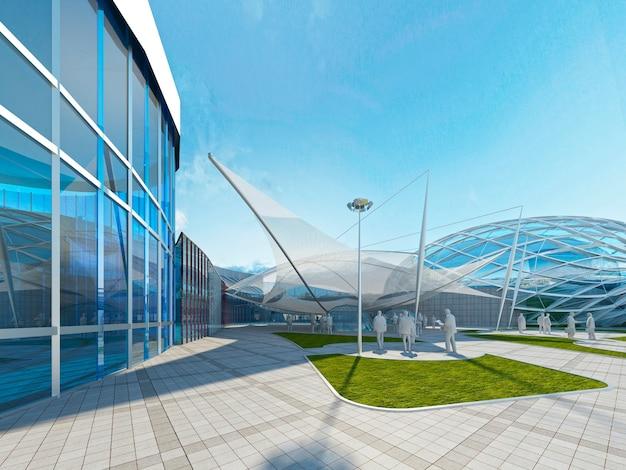 Bediente dachkonstruktion megamall. metall- und glaskonstruktion und markisenabdeckung. 3d-rendering