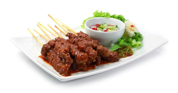 Beef satay sate daging indonesien food appetizer einfaches gericht