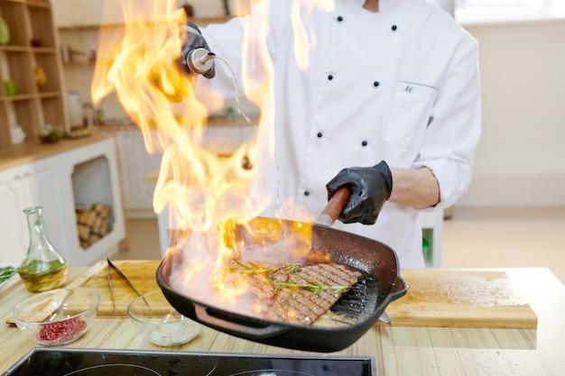 Beef steak flambe