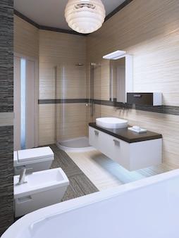 Beeindruckendes design eines modernen bades mit gestreiften keramikfliesen. 3d-rendering