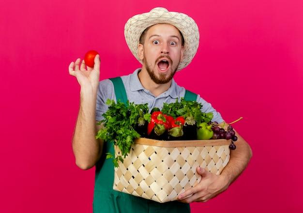 Beeindruckter junger hübscher slawischer gärtner in der uniform und im hut, die korb des gemüses und der tomate lokalisiert auf purpurroter wand halten