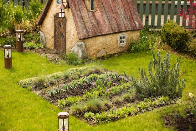 Beete mit pflanzen im gemüsegarten. frühlingsküchengarten und kleines landhaus.