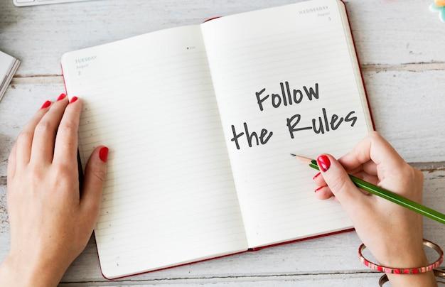 Befolgen sie das rechtssystem-rechtskonzept der rules society regulations
