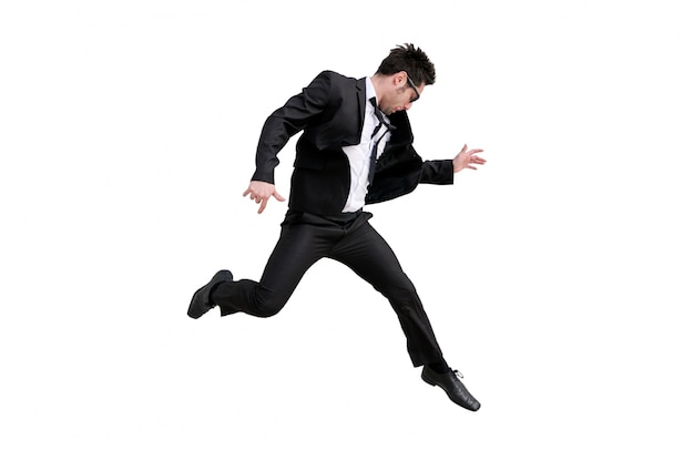 Begeisterte geschäftsmann springen