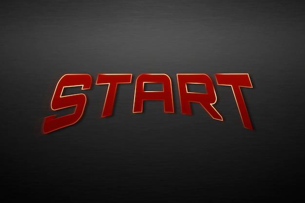 Beginnen sie den text in der roten superhelden-typografie-illustration