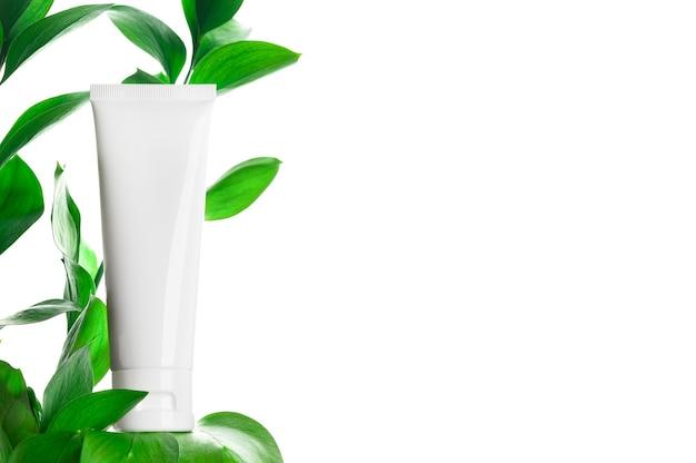 Behälter für zahnpasta, pflegende oder feuchtigkeitsspendende creme, maske, lotion isoliert auf weiß
