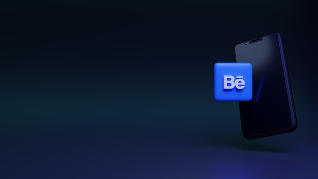 Behance-symbol mit smartphone 3d-rendering social media