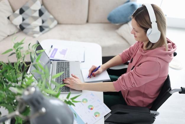 Behinderte frau im rollstuhl, die am laptop arbeitet. fernarbeitskonzept