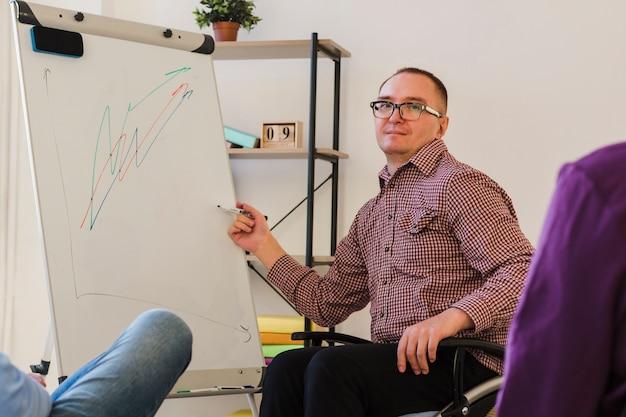 Behinderter arbeiter präsentiert projekt im büro