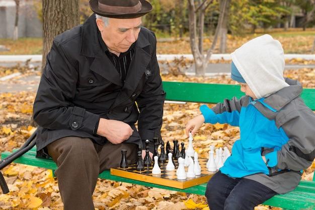 Behinderter kaukasischer älterer mann, der seinem enkel beibringt, an einem herbsttag im park schach zu spielen