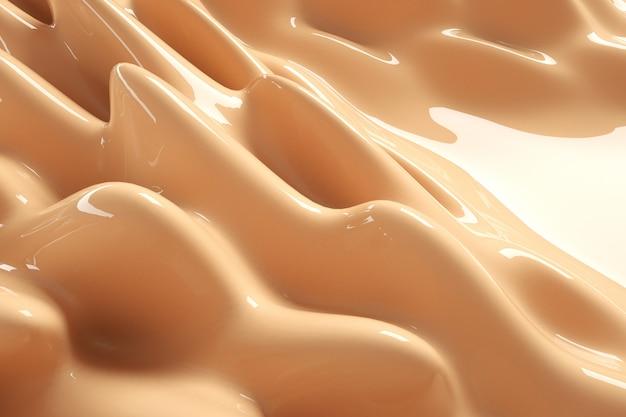 Beige 3d-hintergrund mit flüssigem foundation-spritzer nude make-up-creme flüssiges schönheitsprodukt