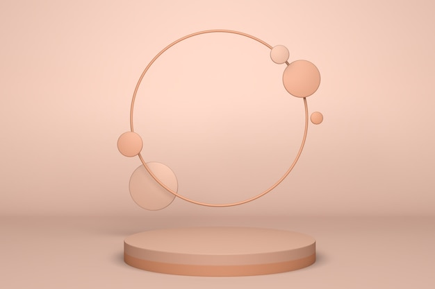 Beige abstrakte minimalszene mit podium. geometrische form der 3d-wiedergabe für kosmetisches produkt Premium Fotos