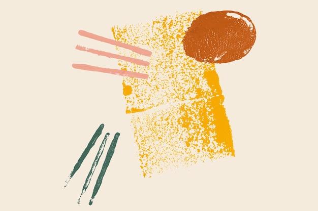 Beige blockdruckhintergrund mit abstraktem gelbem rechteck