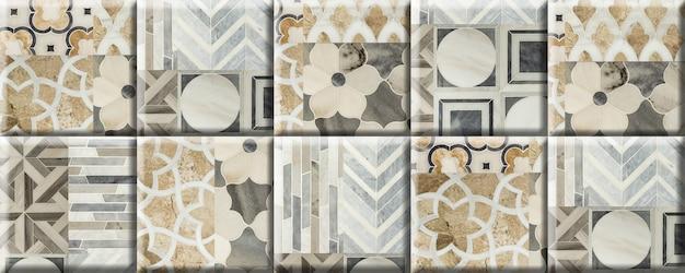 Beige fliesen mit einem muster und einer textur aus natürlichem marmor. element für wanddekoration. nahtlose hintergrundbeschaffenheit