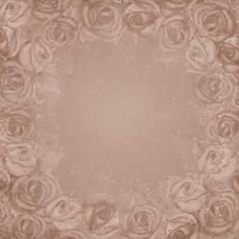 Beige hintergrund der weinlese mit rosen. platz für text