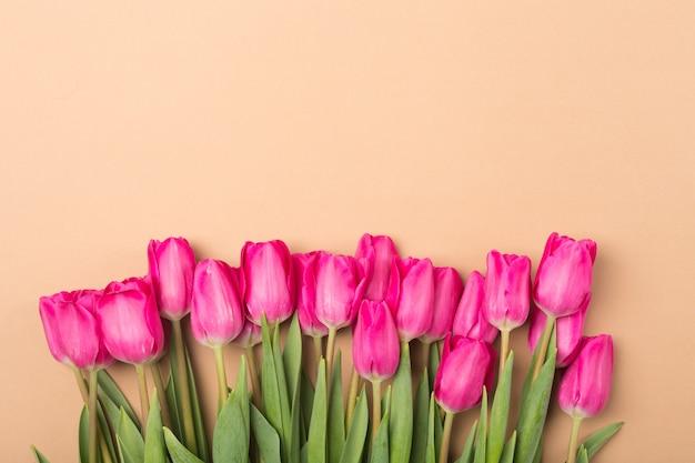 Beige hintergrund des frühlings-sommers mit frühlingsblumen. freiraum. kopieren sie platz.top-ansicht. rosa tulpen