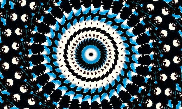 Beige spirale auf blauem kaleidoskop. beige batik-shirt. tie sterben wirbel-hintergrund. hippie psychedelisches kaleidoskop. farbe herz kleid. kunst multi-textur. abstrakter kreisförmiger aquarell-effekt.
