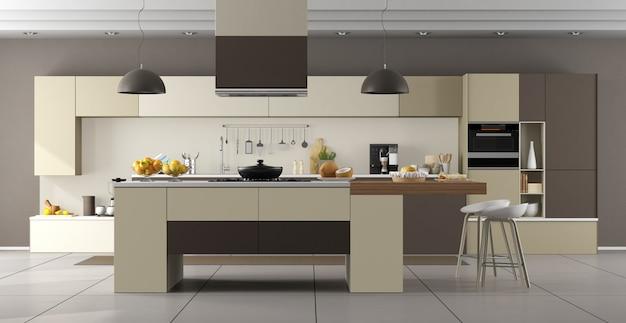Beige und braune moderne küche mit insel