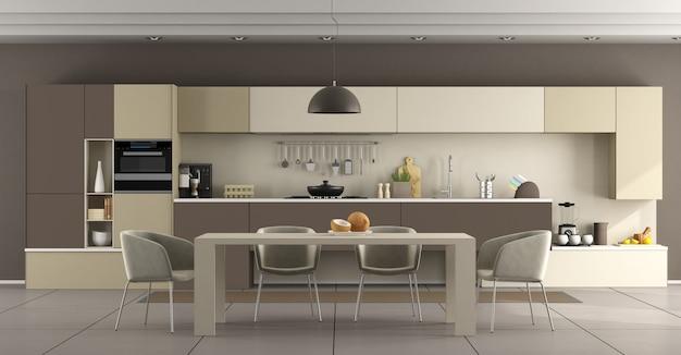 Beige und braune moderne küche