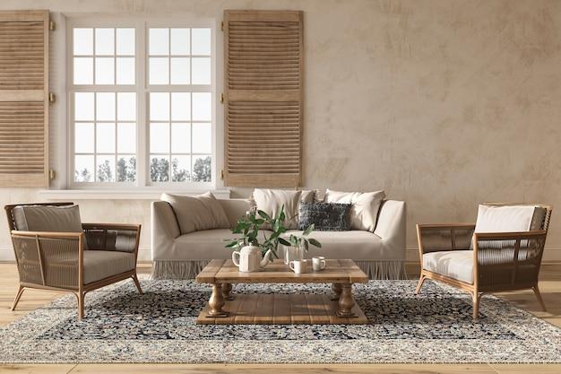 Beige wohnzimmer im skandinavischen landhausstil mit holzmöbeln 3d-render-illustration