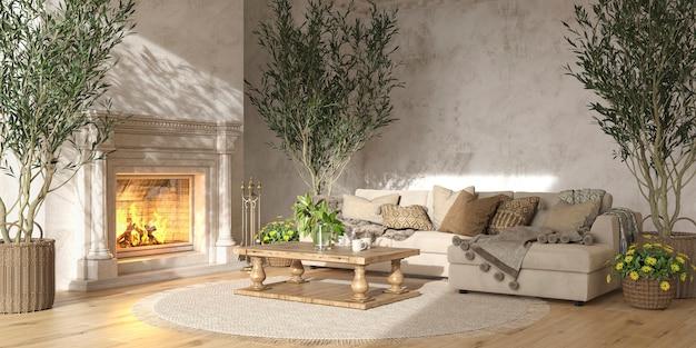 Beige wohnzimmer im skandinavischen landhausstil mit kamin 3d-rendering-illustration