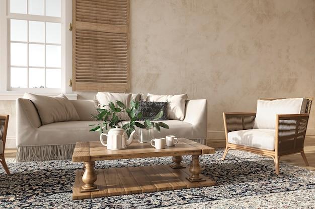 Beige wohnzimmer im skandinavischen landhausstil mit natürlichem stuck 3d-rendering-illustration