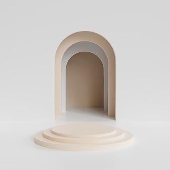 Beige zylinder podest oder sockel für produkte oder werbung in der nähe von weißen leeren eingang. minimales 3d-rendering.