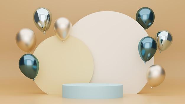 Beiger hintergrund mit podestballons in metallicfarbe und geometrischem kreis im rücken