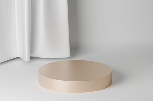 Beiges zylinderpodest oder -sockel für produkte oder werbung in der nähe von weißen vorhängen. 3d-rendering.