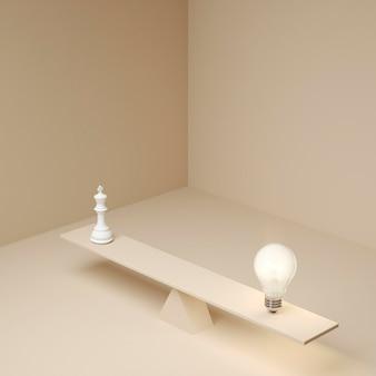 Beleuchtete glühbirne balanciert auf planke neben schachfigur als ideenkonzept