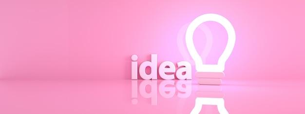 Beleuchtete glühbirne über rosa hintergrund, kreatives ideenkonzept, 3d-rendering, panoramabild panoramic