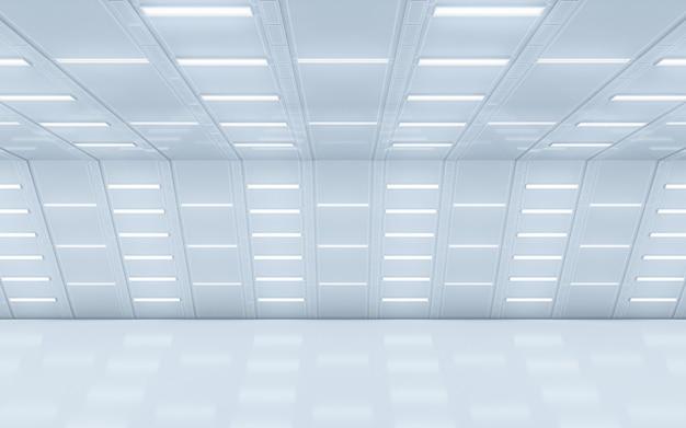 Beleuchteter flurinnenraum. 3d-rendering.