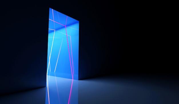 Beleuchteter neon-tunneleingang mit blauen lichtern