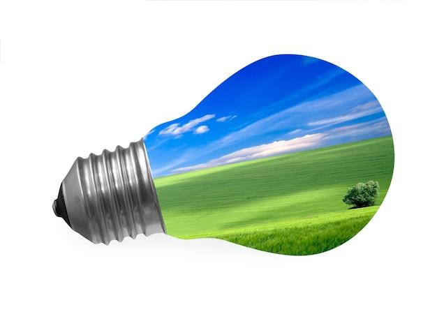 Beleuchtungslampe auf grünem hintergrund