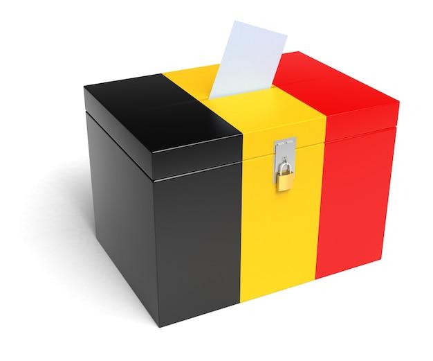 Belgien-wahlurne mit belgien-flagge isoliert auf weißem hintergrund