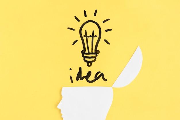 Belichtete glühlampe mit ideenwort über offenem menschlichem gehirn auf gelbem hintergrund