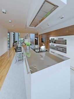 Beliebter trend im küchendesign, bei dem der inselschrank in weiß gehalten ist.