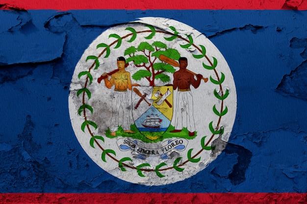 Belize-flagge gemalt auf der gebrochenen betonmauer