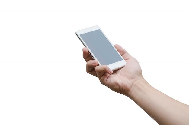 Bemannen sie die hand, die den weißen smartphone lokalisiert auf weiß mit beschneidungspfad hält.