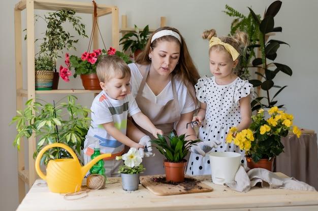 Bemuttern sie ihren sohn und ihre tochter in einer fastenpflanze oder verpflanzen sie zimmerblumen kleiner helfer bei der hausarbeit