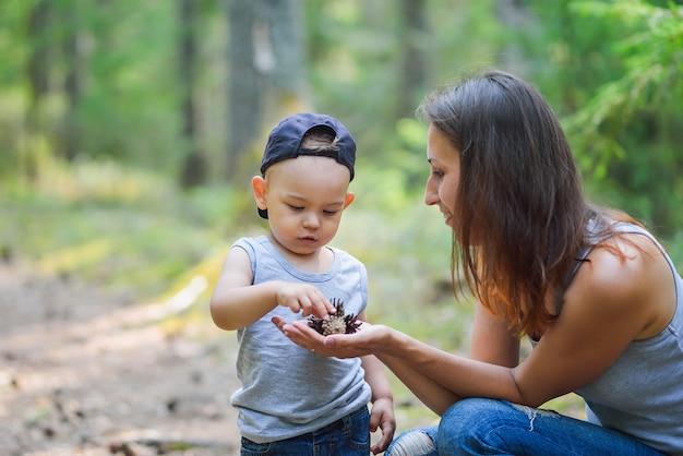 Bemuttern sie und ihr kleiner sohn, welche die natur entdeckt, die auf kiefernkegeln schaut