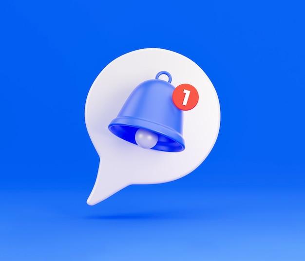 Benachrichtigung über das glockensymbol der benachrichtigung. weiße 3d-sprechblase mit einer glocke über die benachrichtigung eines anrufs und einer sms. 3d-rendering