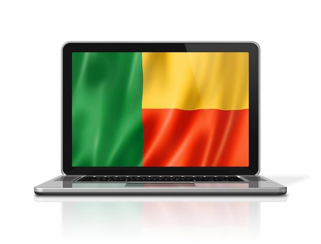 Benin-flag auf laptop-bildschirm isoliert auf weiss. 3d-darstellung rendern.