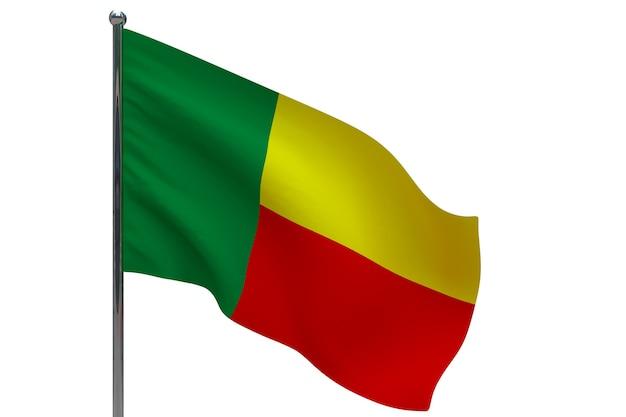 Benin flagge auf stange. fahnenmast aus metall. nationalflagge von benin 3d-illustration auf weiß