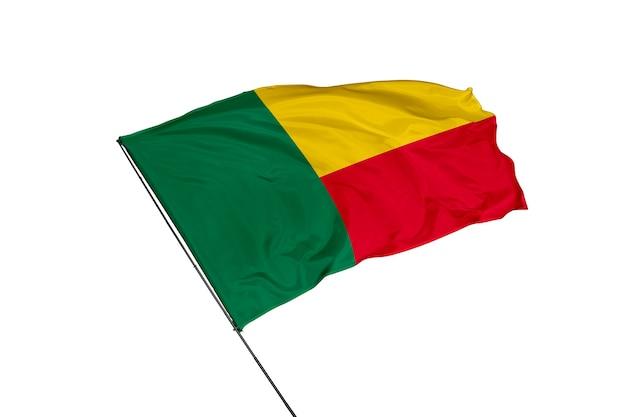 Benin-flagge auf weißem hintergrund